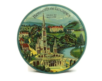 Lourdes Souvenir Tin Box. Vintage French Candy & Bonbons Box with Lithograph Advertising Illustration.