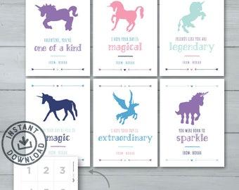 Kids Valentine Cards | Unicorns Valentine Cards  |  Pegicorn Valentines  |  Magical Valentines | Instant Download