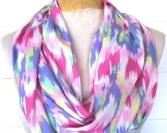 Infinity / Loop Lightweight Scarf - Lilac, Pink, Yellow and White Ikate print