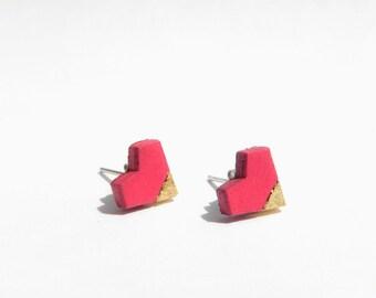 heart earrings, fuchsia earrings, pink earrings, wood earrings, wooden earrings, gift for her, love earrings, gold foil earrings