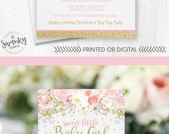 Printeddigital stationery first day signs and by swankydesignco baby shower invitation girl blush pink gold glitter invite baby girl shower whimsical floral invitations gold glitter and pink flowers filmwisefo