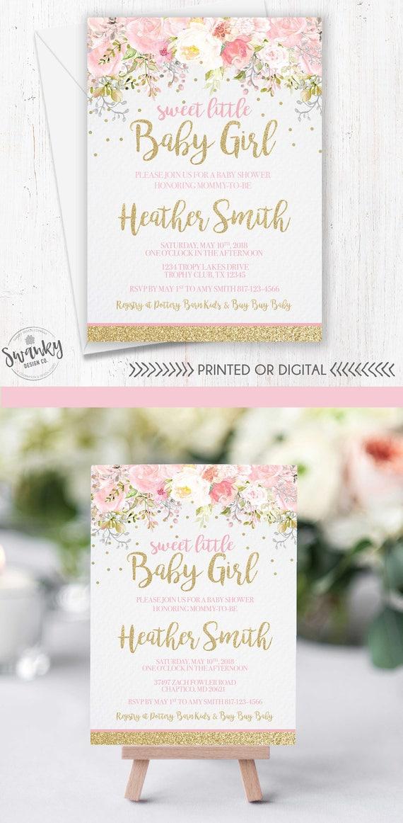 Baby Shower Invitation Girl Blush Pink & Gold Glitter Invite