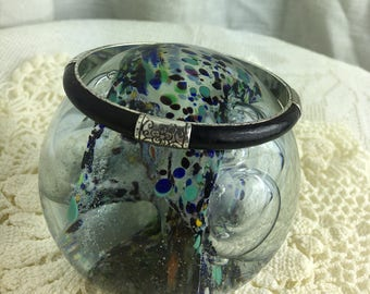 Brighton silver and black leather bangle bracelet