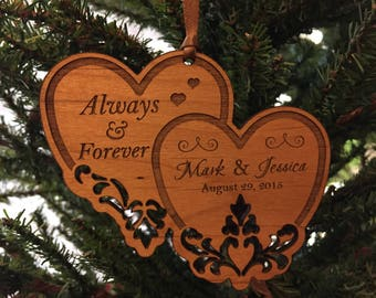 """Personalized Wedding Ornament, Great Anniversary Gift, """"Always and Forever"""""""