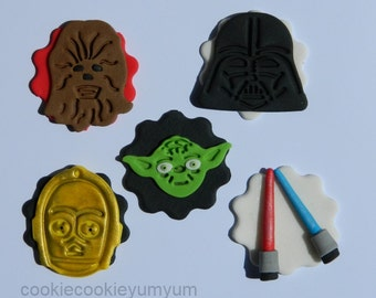 10 edible STAR WARS INSPIRED darth yoda chewbacca c3po cake cupcake topper decoration wedding anniversary birthday engagement valentine
