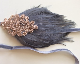 1920s Champagne headband, great gatsby feather headband, gray feather headband, wedding headpiece, beige feather bridesmaids bridal 1920s