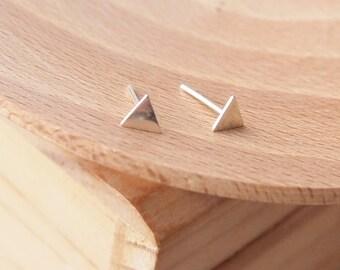 Small Triangle Earrings - Sterling Silver Tiny Stud Earrings - Geometric Jewellery - Minimalist Earrings - Modern Stud Earrings