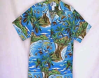 Vintage 1970s  RJC LTD Aloha Hawaiian Shirt 1970s Blue Ocean Lagoon Beach Sea Life Dolphins Sea Turtles and Palm Trees