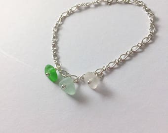 Multicolor Beachglass Bracelet - Sterling