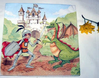 2 Napkins  from Holland the hero with dragon