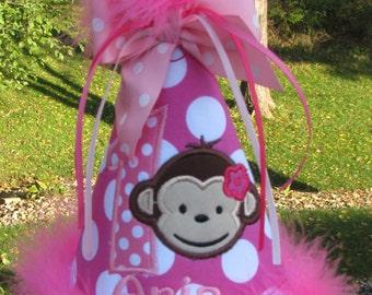 mod monkey  birthday hat, smash cake hat, 1st birthday, 2nd birthday. birthday hat,pink mod monkey birthday, Party hat
