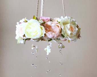Baby mobile, Floral mobile, Flower mobile, Swarovski crystals, Artificial silk peonies, Crib mobile, Nursery decor, Floral nursery, Boho