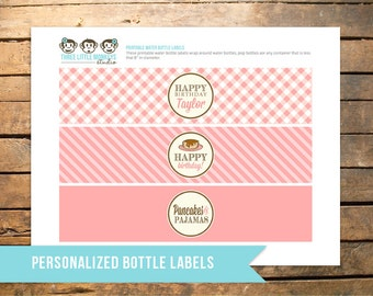Pancakes and PJs Bottle Labels - for water bottles, soda pop and more