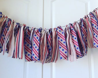 red, white and blue burlap garland