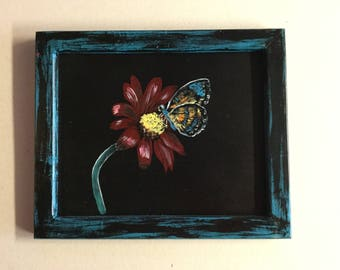 8x10 framed flower butterfly painting