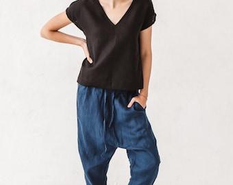 Harem pants, Linen pants, Woman pants, Navy blue pants,  Trousers Eco friendly, Stone washed linen, French linen, Linen clothes, Yoga pants