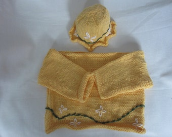 READY TO SHIP Spring Flowers yellow sweater and hat set