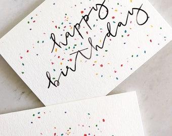 Watercolor Funfetti Happy Birthday Card