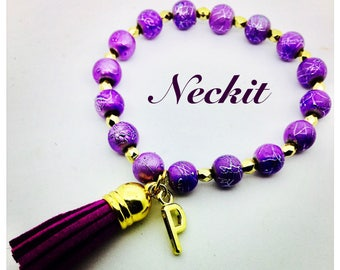 Purple Custom Initial Tassel Bracelet