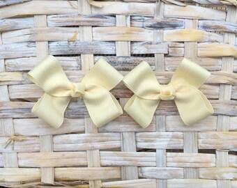 Cream Hair Bows,Pigtail Hair Bows,Baby Hair Bows,Toddler Hair Bows,Non Slip,3 Inch Bows