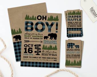 Camping Baby Shower Invitation -  Buffalo Plaid Baby Shower Invitation - Lumberjack Baby Shower Invitation Printable - Bear - Blue Plaid