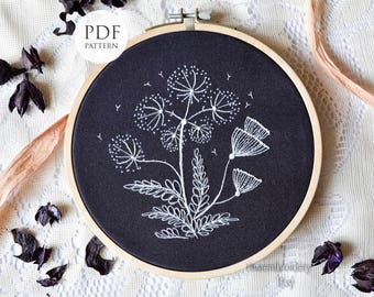 Hand embroidery Pattern, White flowers, PDF Instant Download, Embroidery Hoop Art Pattern