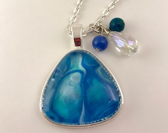Blue/Turquoise Triangle Pendant with Beads