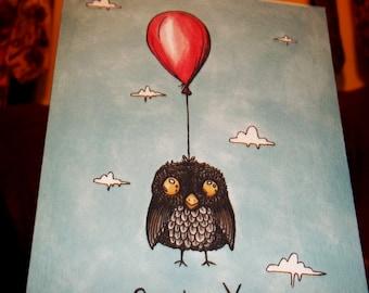 Owl Card Cute Get Well Soon Owl Balloon  5x7 Greeting Card Blank inside by Agorables Feeling Sick