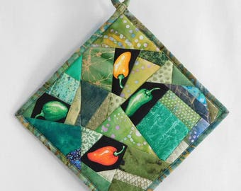 Hot Peppers Quilted Potholder, Hand made in USA