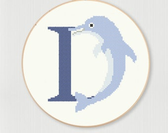 Cross stitch letter D Dolphin pattern, instant digital download