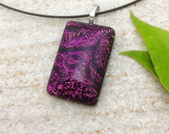 Grand Opening Sale, Dichroic Fused Glass Jewelry, Pendant, Necklace, purple, Cord Included, Unique design