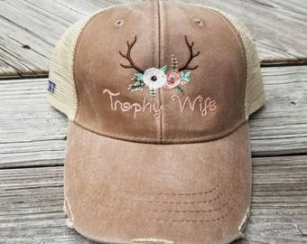 Trophy Wife Hat, Trophy Wife cap, Country Wife Hat, Antler Hat, Trophy Wife antler Hat, Trophy Wife Antler Cap, Trophy Wife