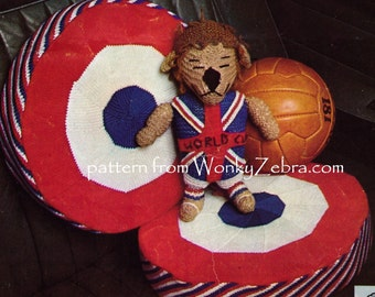 Vintage World Cup Lion Mascot and round cushion knitting Pattern PDF 799 from WonkyZebra