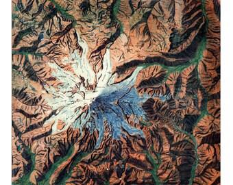 Mt Rainier, Rainier, Washington, Pacific Northwest, PNW, Vintage Map, Home Decor