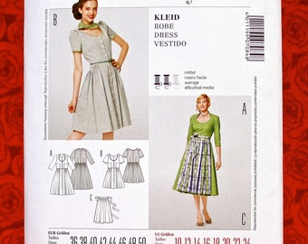 Burda Sewing Pattern 7084 Bavarian Folk Costume Dirndl Pleat Dress, Apron, Short or 3/4 Length Sleeve, Sizes 10 12 14 16 18 20 22 24, UNCUT