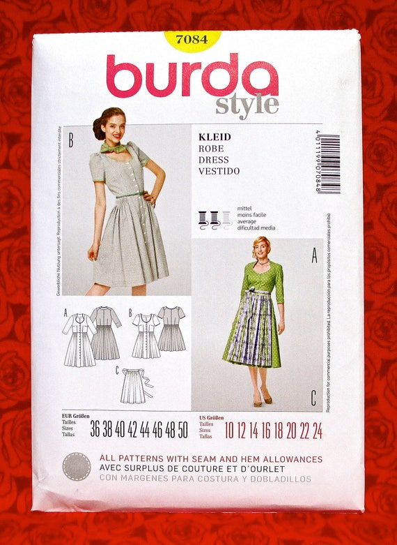 Burda Sewing Pattern 7084 Bavarian Folk Costume Dirndl Pleat