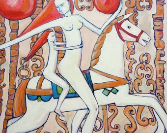 Oil painting MOTHER WITH DAUGHTER on carousel with magic pomegranate small oil on canvas modern art