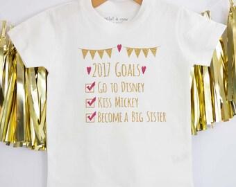 Big Sister Goals,Personalised Big Sister,Big Sister Top,Big Sister T-Shirt,Sister T-Shirt,Sister T-Shirt,Sibling T-shirt,Announcement