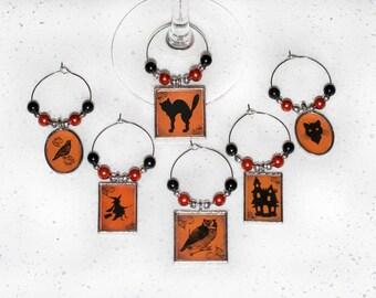 Halloween Wine Charms; Black & Orange Charms; Halloween; 6 piece wine charm set