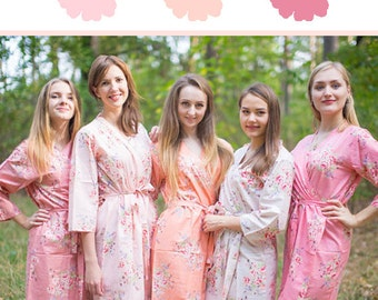 Blush, Peach and Rose Gold Wedding Color Bridesmaids Robes