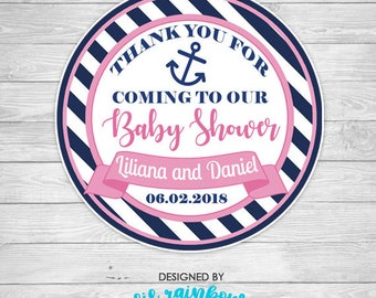 FVTAG-941: Anchors Away Baby Shower Tags or Stickers