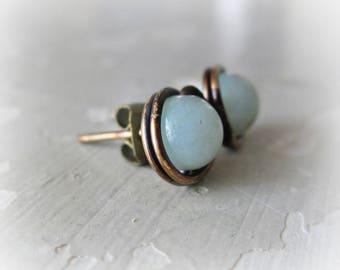 Brass Earrings Studs, Amazonite Studs, Aqua Earrings, Patina Stud Earrings, Raw Brass Studs, Oxidized Post Earrings, Natural Stone Studs