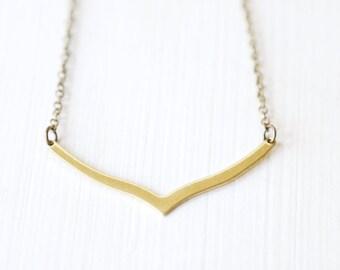 Modern Brass Chevron Necklace - Simple everyday minimalist jewelry