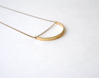 Curved Bar Necklace. Minimal Modern Boho Style. Geometric Gold Semi Circle. Brass Arc Shape. Half Moon Charm. Long Brass Pendant Necklace.