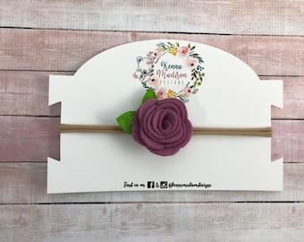 Small mauve purple felt flower Headband