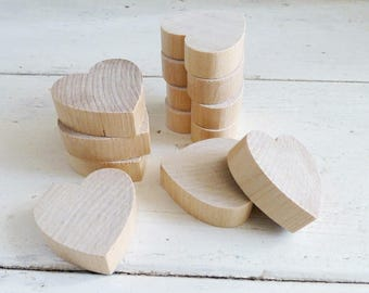 Wooden hearts, set of 10, crafting hearts, cute hearts, raw wood