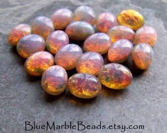 Fire Opal-Fire Opal Stone-Fire Opal Cabochon-Glass Cabochon-Doublet-Harlequin-Foil-Oval Cabochon-Domed-Pointed Back-8 x 6-20 Stones