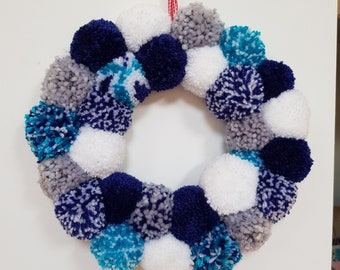 Beach themed pom pom wreath.