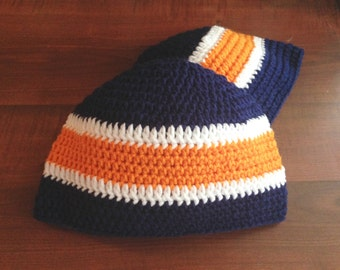 Sports Team Colors Hat, Beanie, Sports, Multi-colored hat, Crocheted, Family special option!