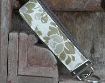 READY TO SHIP-Beautiful Key Fob/Keychain/Wristlet-Putty Flowers on Gray
